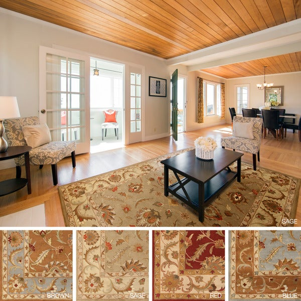 Hand-Tufted Devin Bordered Traditional Wool Rug (2' x 3')