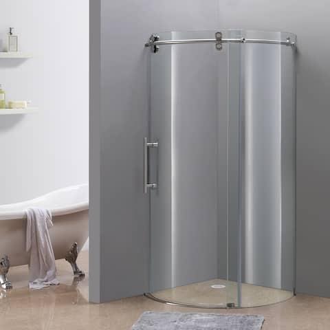 Aston Orbitus 36-in x 36-in Completely Frameless Sliding Shower Enclosure in Stainless Steel, Left Opening Chrome