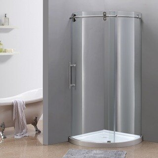 Aston Orbitus 40-in x 40-in Completely Frameless Round Shower Enclosure in Stainless Steel, Left Opening w. Base
