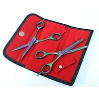 Multicolor Professional Razor Edge 2-piece Hair Cutting Scissors Set