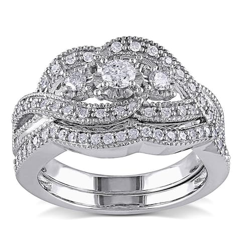Miadora Sterling Silver 1/2ct TDW Diamond Split Shank Engagement Wedding Bridal Ring Set
