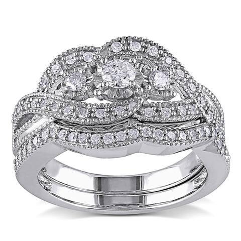 Miadora Sterling Silver 1/2ct TDW Diamond Split Shank Engagement Wedding Bridal Ring Set