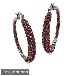 Birthstone Black Rhodium-Plated Inside-Out Hoop Earrings Color Fun