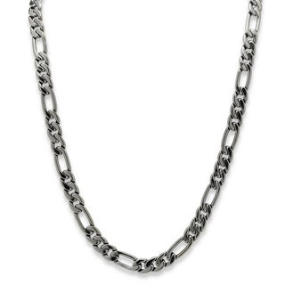 PalmBeach Men's Figaro-Link 10.5 mm Chain Necklace Black Rhodium-Plated 30""