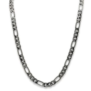 Men's Figaro-Link 10.5 mm Chain Necklace Black Rhodium-Plated 30""