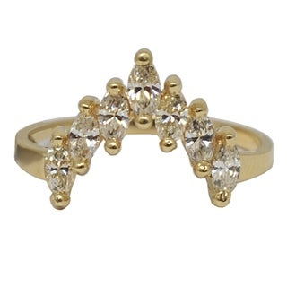 "Kabella Luxe 14k Yellow Gold Prong Set Marquise Diamond ""V"" Ring 3/5ct tdw - White"