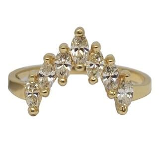 "Kabella Luxe 14k Yellow Gold Prong Set Marquise Diamond ""V"" Ring 3/5ct tdw - White"