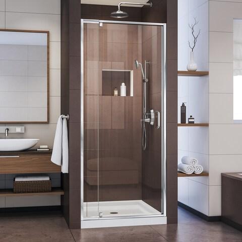 DreamLine Flex 32 in. D x 32 in. W x 74 3/4 in. H Semi-Frameless Pivot Shower Door and SlimLine Shower Base Kit