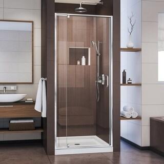 DreamLine Flex 32-in. W x 32-in. D x 74-3/4-in. H Frameless Shower Door and Base Kit