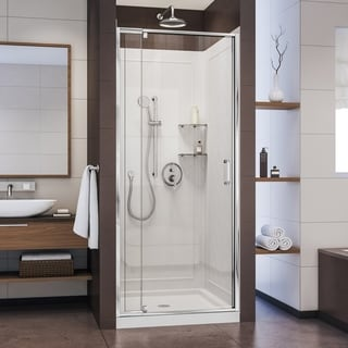 DreamLine Flex 32-in. W x 32-in. D x 76-3/4-in. H Frameless Shower Door, Backwall and Base Kit