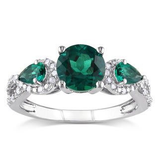 Miadora Silver Created Emerald and 1/6ct TDW Diamond 3-stone Ring (H-I, I2-I3)