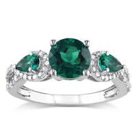 Miadora Silver Created Emerald and 1/6ct TDW Diamond 3-stone Ring (H-I, I2-I3)
