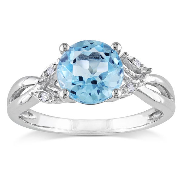 Miadora 10k White Gold Blue Topaz and Diamond Accent Cocktail Ring