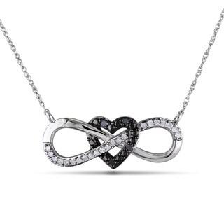 Miadora 10k White Gold 1/6ct TDW Black and White Diamond Heart infinity Necklace