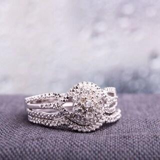 Miadora Sterling Silver 1/7ct TDW Diamond Cluster Split Shank Bridal Ring Set