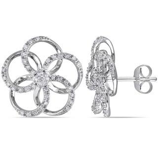 Miadora 10k White Gold 1/3ct TDW Diamond Flower Earrings (H-I, I2-I3)