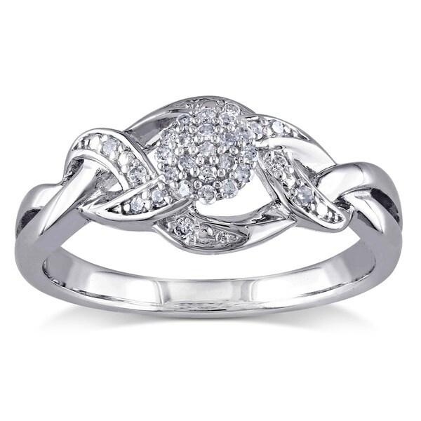 Miadora 10k White Gold 1/6ct TDW Diamond Composite Ring