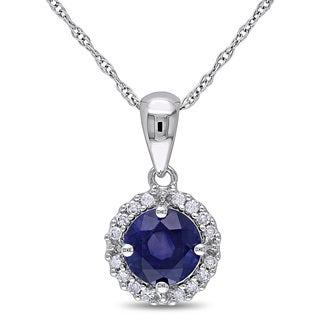 Miadora 10k White Gold Sapphire and 1/10ct TDW Diamond Halo Necklace (H-I, I2-I3)