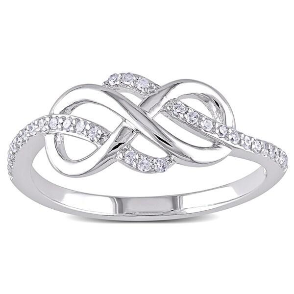 Miadora 10k White Gold 1/6ct TDW Diamond Infinity Ring