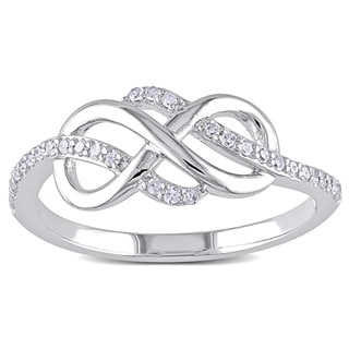 Miadora 10k White Gold 1/6ct TDW Diamond Infinity Ring