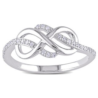 Miadora 10k White Gold 1/6ct TDW Diamond Infinity Ring (H-I, I2-I3)