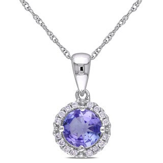 Miadora 10k White Gold Tanzanite and 1/10ct TDW Diamond Halo Necklace (H-I, I2-I3)