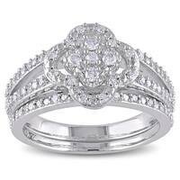 Miadora Sterling Silver 1/3ct TDW Diamond Bridal Ring Set