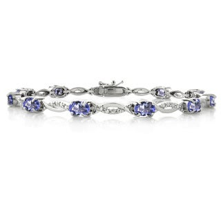 Glitzy Rocks Sterling Silver Tanzanite and Diamond Accent Bracelet