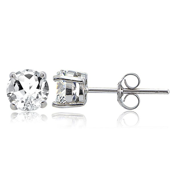 Glitzy Rocks Sterling Silver 2ct TGW White Topaz 6mm Stud Earrings