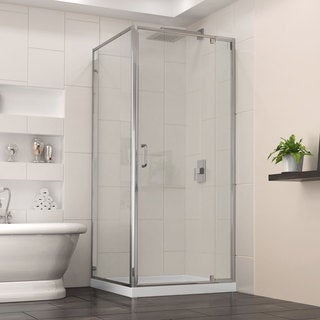 DreamLine Flex 32 in. W x 32 in. D x 74.750 in. H Frameless Shower Enclosure and Base Kit
