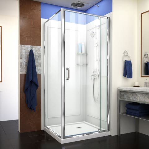 """DreamLine Flex 32 in. D x 32 in. W x 76 3/4 in. H Pivot Shower Enclosure, Shower Base and Backwall Kit - 32"""" x 32"""""""