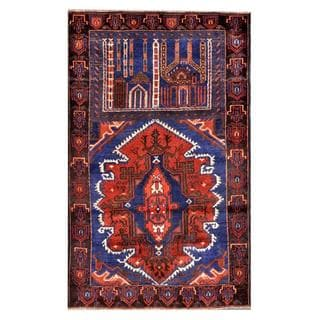 Herat Oriental Semi-antique Afghan Hand-knotted Tribal Balouchi Navy/ Salmon Wool Rug (2'10 x 4'7)