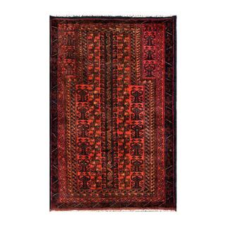 Herat Oriental Semi-antique Afghan Hand-knotted Tribal Balouchi Salmon/ Navy Wool Rug (2'7 x 4'2)