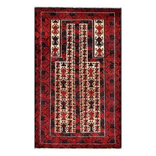 Herat Oriental Afghan Hand-knotted 1960s Semi-antique Tribal Balouchi Wool Rug (2'9 x 4'6)