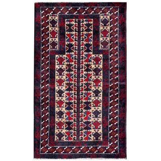 Herat Oriental Semi-antique Afghan Hand-knotted Tribal Balouchi Beige/ Navy Wool Rug (2'8 x 4'7)