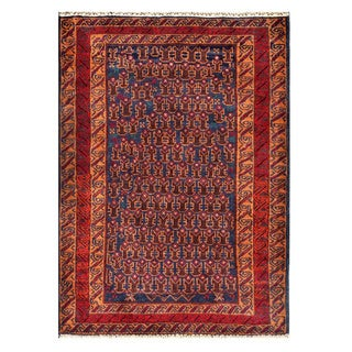 Herat Oriental Semi-antique Afghan Hand-knotted Tribal Balouchi Navy/ Copper Wool Rug (3'2 x 4'5)