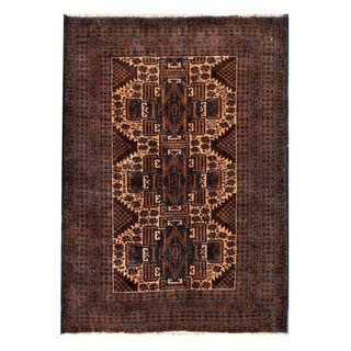 Herat Oriental Semi-antique Afghan Hand-knotted Tribal Balouchi Beige/ Navy Wool Rug (2'9 x 3'11)