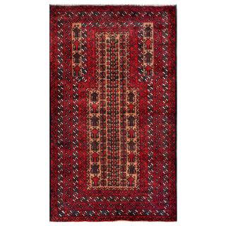 Herat Oriental Semi-antique Afghan Hand-knotted Tribal Balouchi Navy/ Red Wool Rug (2'10 x 4'9)