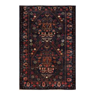 Herat Oriental Semi-antique Afghan Hand-knotted Tribal Balouchi Navy/ Brown Wool Rug (3' x 4'6)