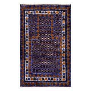 Herat Oriental Afghan Hand-knotted Tribal Balouchi Navy/ Brown Wool Rug (2'7 x 4'4)