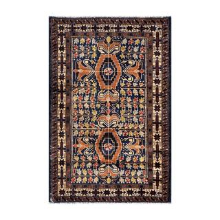 Herat Oriental Semi-antique Afghan Hand-knotted Tribal Balouchi Navy/ Brown Wool Rug (2'9 x 4'2)