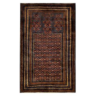 Herat Oriental Afghan Hand-knotted Tribal Balouchi Navy/ Rust Wool Rug (3' x 4'11)