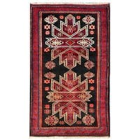 Herat Oriental Afghan Hand-knotted 1950s Semi-antique Tribal Balouchi Wool Rug - 2'10 x 4'8