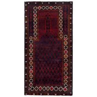 Herat Oriental Afghan Hand-knotted 1960s Semi-antique Tribal Balouchi Wool Rug (2'10 x 5'7)