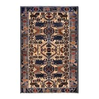 Herat Oriental Afghan Hand-knotted 1950s Semi-antique Tribal Balouchi Wool Rug - 2'9 x 4'4