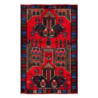 Herat Oriental Afghan Hand-knotted 1950s Semi-antique Tribal Balouchi Wool Rug (2'8 x 4'4)