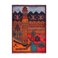 Handmade Herat Oriental Afghan 1960s Semi-antique Tribal Balouchi Wool Rug (Afghanistan) - 2'11 x 3'11
