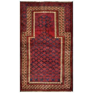Herat Oriental Afghan Hand-knotted 1960s Semi-antique Tribal Balouchi Wool Rug (2'10 x 4'9)