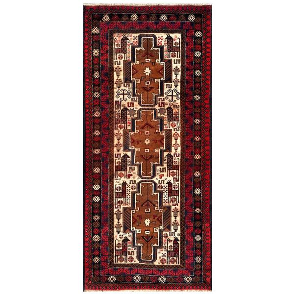 Herat Oriental Afghan Hand-knotted 1960s Tribal Balouchi Wool Rug (3'1 x 6'10)