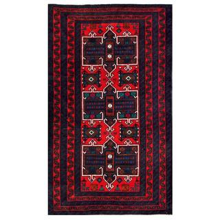 Herat Oriental Afghan Hand-knotted 1950s Semi-antique Tribal Balouchi Wool Rug (3'7 x 6')